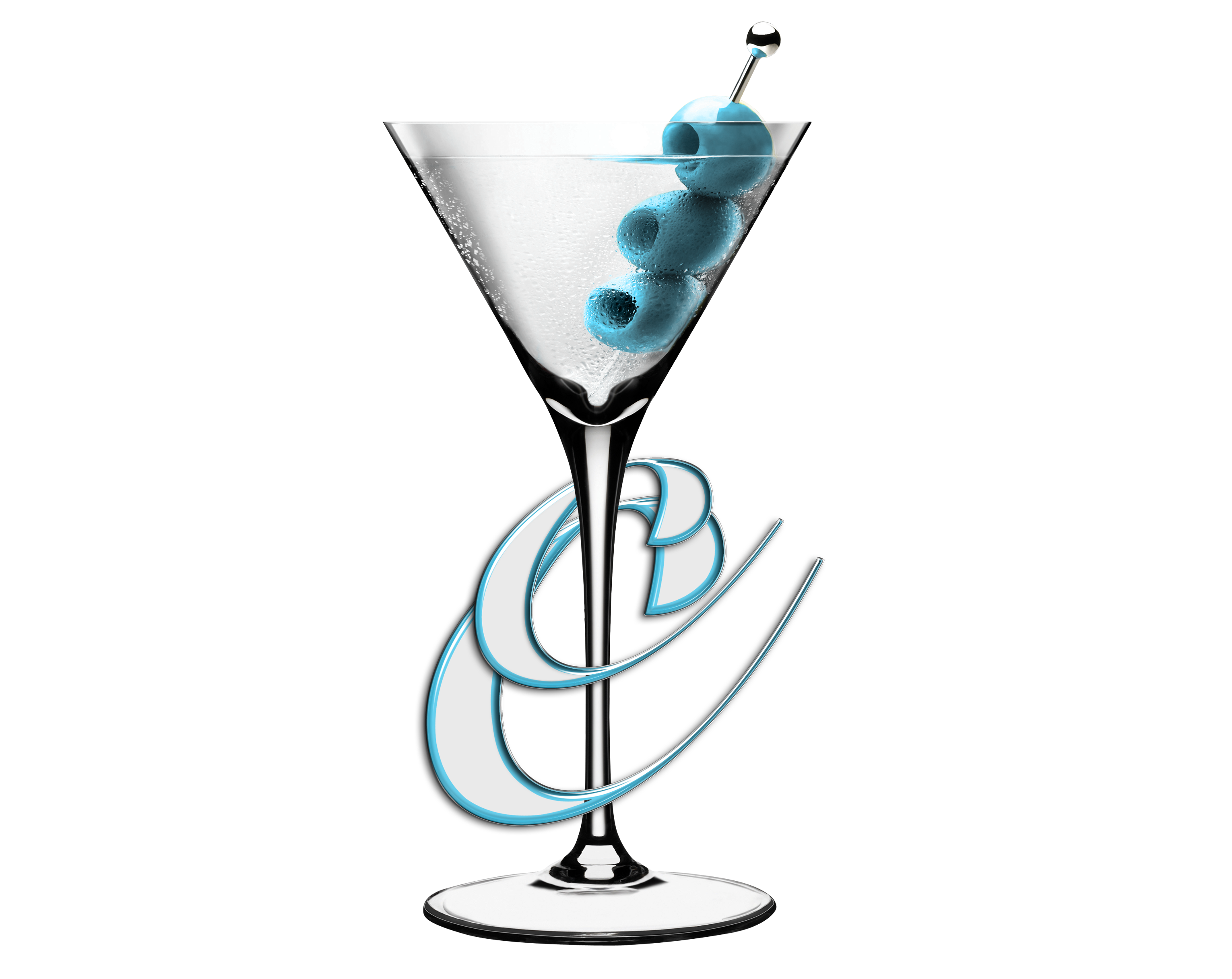 cocktails and caviar martini glass with blue olives on home page